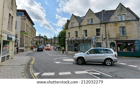 BRADFORD ON AVON - AUG 17: View roads and a roundabout in the old town on Aug 17, 2014 in Bradford on Avon, UK. The historic Wiltshire town was a centre for the wool industry during industralisation. - stock photo