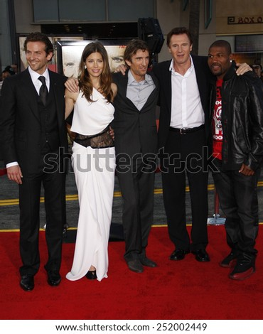 """Bradley Cooper, Jessica Biel, Sharlto Copley, Liam Neeson and Quinton Jackson at the World Premiere of """"The A-Team"""" held at the Grauman's Chinese Theater in Hollywood on June 3, 2010.  - stock photo"""