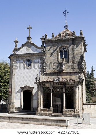 BRAGA, PORTUGAL - September 21, 2015: The Church of Sao Joao do Souto on the left and the Chapel of the Coimbras on the right in Braga, on September 21, 2015 in Braga, Portugal - stock photo