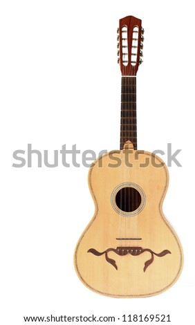 Braguesa typical acoustic guitar isolated on white background - stock photo