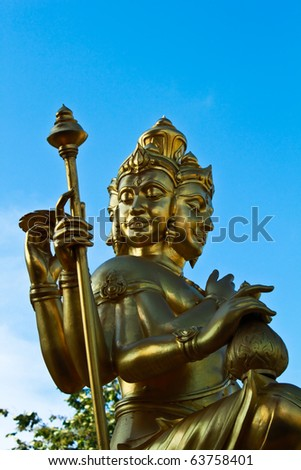 Brahma statue made of gold metal. in Thailand