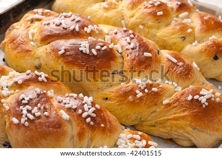 Braid Brioches with sugar and chocolate chips - stock photo