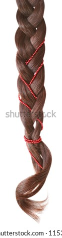 Braid decorated with a string of beads on a white background. - stock photo