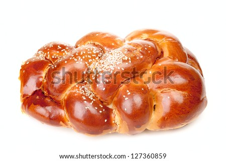 Braided challah isolated on white background - stock photo