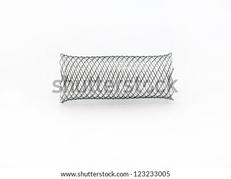 braided mesh metal stent for endovascular surgery - stock photo