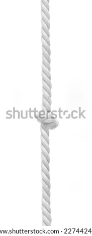 Braided rope with central knot on white background - stock photo