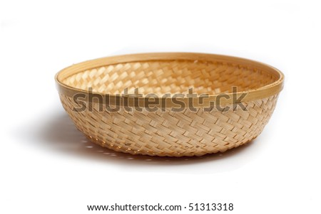 braiding small basket on white background - stock photo
