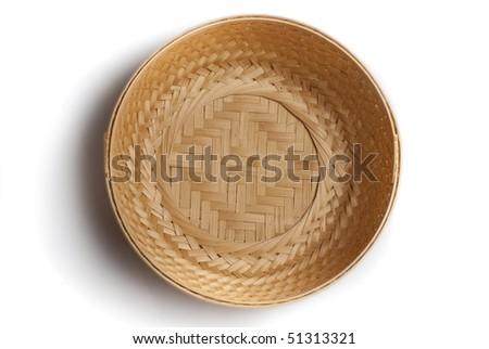 braiding small basket on white background - stock photo
