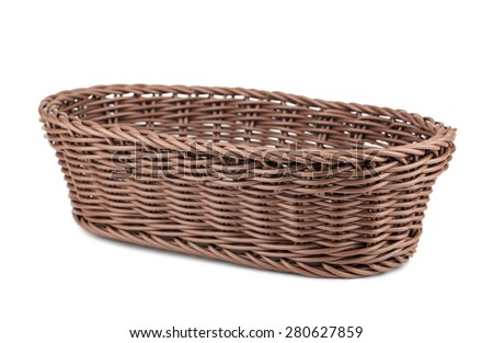 Braiding small wicker basket isolated on white background