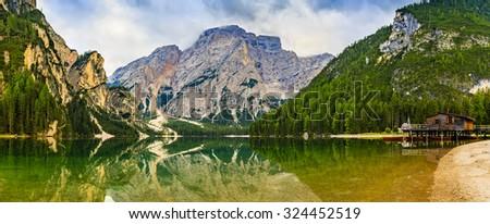 Braies Lake in Dolomites mountains, Seekofel in background, Sudtirol,Italy  - stock photo