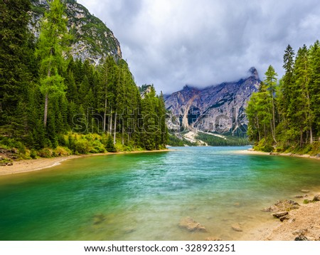 Braies Lake in Dolomites mountains, Seekofel in background, Sudtirol, Italy