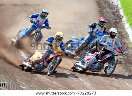 BRAILA, ROMANIA - JUNE 11: Unidentified riders participate at European Championship of Dirt Track on June 11, 2011 on Braila, Romania - stock photo