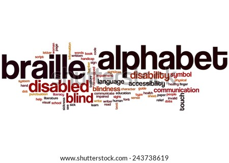 Braille alphabet word cloud concept with blind touch related tags - stock photo