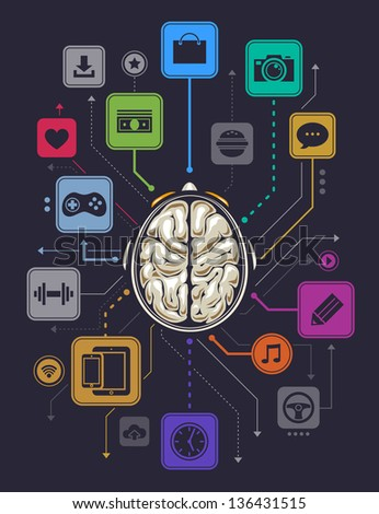 Brain activity infographics illustration. - stock photo