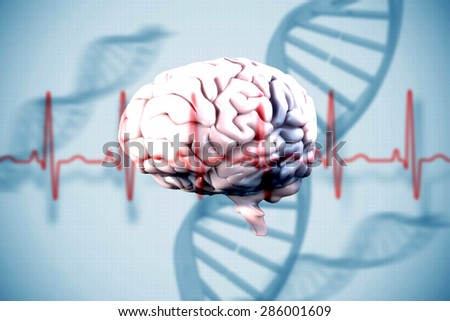 brain against blue medical background with dna and ecg - stock photo
