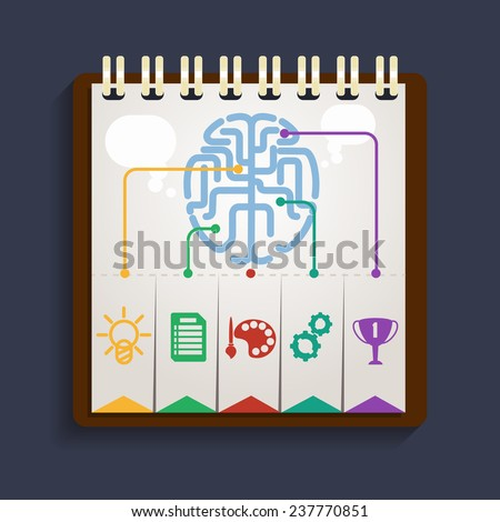 Brain analysis on clipboard. Parts of the brain that are responsible for human development creative abilities - stock photo