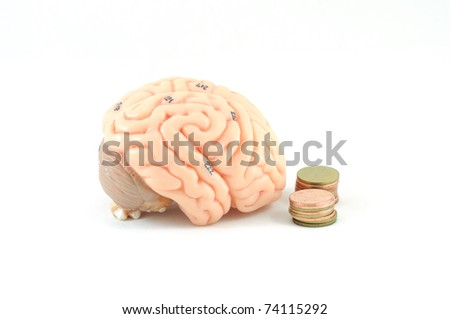 brain and coin - stock photo
