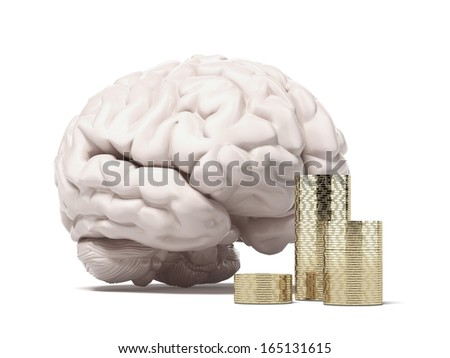 brain and coins - stock photo