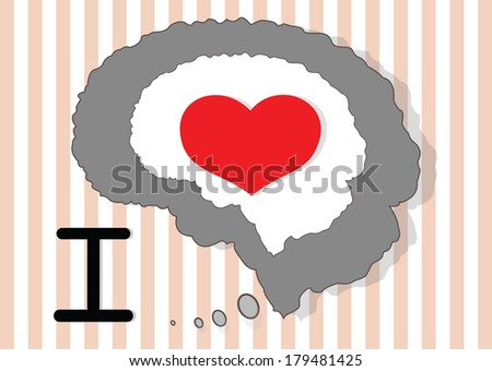Brain and red heart on the beautiful icon - stock photo