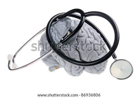 Brain and Stethoscope on White Background - stock photo
