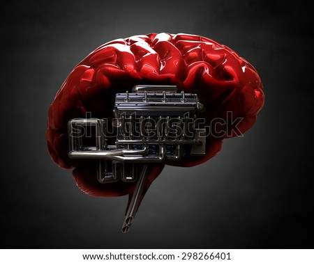 brain and v8 engine - stock photo
