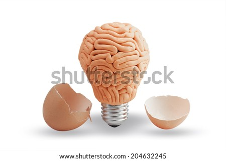 brain as light bulb an egg cracking open idea concept for creativity - stock photo