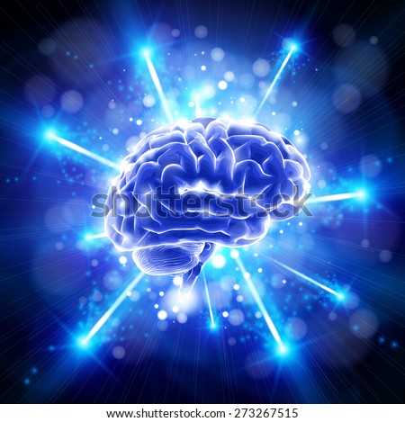 brain & blue bang - technology concept - stock photo