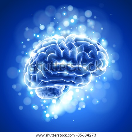 brain & blue bokeh abstract light background. Bitmap copy my vector ID 73068175 - stock photo