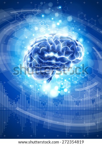 brain - blue technology concept