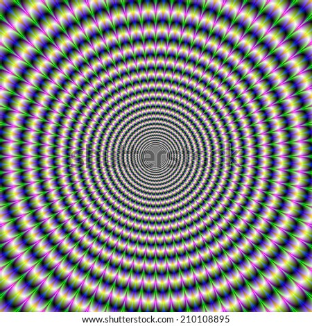 Brain-Buster in Blue Green and Pink / A digital abstract fractal image with an brain busting optical illusion circular design in green, blue, yellow and pink. - stock photo