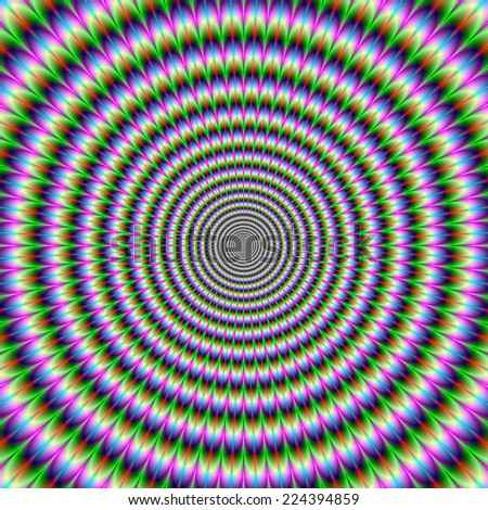 Brain-Buster in Green Pink and Blue / A digital abstract fractal image with an brain busting optical illusion circular design in green, blue, red and pink. - stock photo