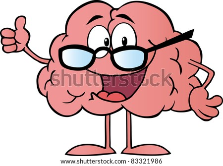 Brain Cartoon Character Giving The Thumbs Up.Vector version is also available - stock photo