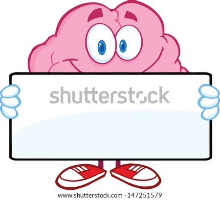 Brain Cartoon Character Holding A Banner. Vector version also available in gallery - stock photo