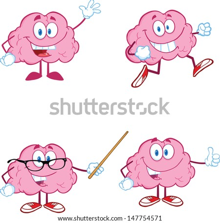 Brain Cartoon Mascot Collection 1. Vector version also available in gallery - stock photo