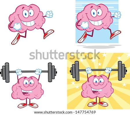 Brain Cartoon Mascot Collection 14. Vector version also available in gallery - stock photo