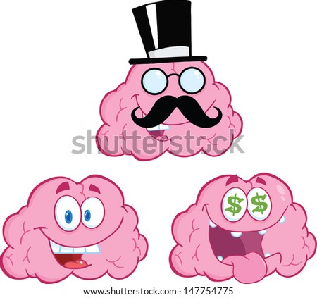 Brain Cartoon Mascot Collection 12. Vector version also available in gallery - stock photo