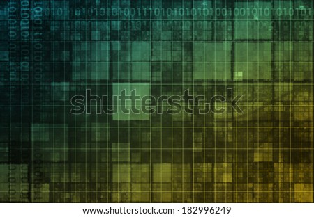 Brain Computer Interface with Square Digital Art Blocks - stock photo