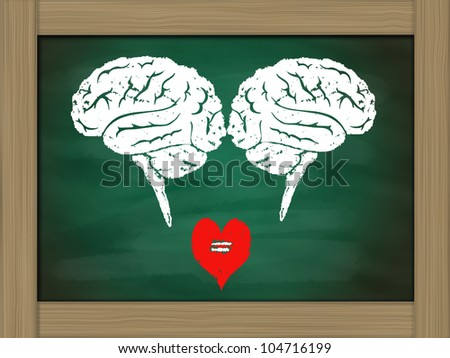 Brain connection to heart ,drawing on green chalkboard - stock photo