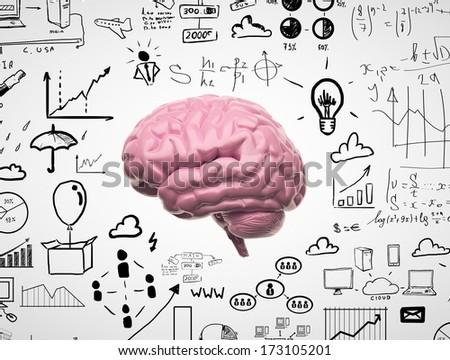 brain 3d with speech bubbles - stock photo