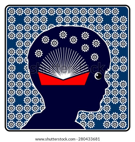 Brain Development by Reading. Concept sign to show the importance of books in early childhood education - stock photo
