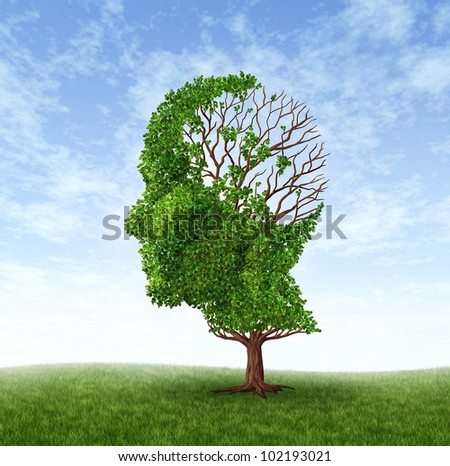 Brain disease as function loss and dealing With dementia and Alzheimer's disease as a medical icon of a tree in the shape of a human head with lost leaves as challenges in intelligence and memory. - stock photo