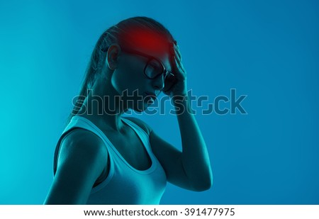 Brain disease. Mental problem. Woman suffering from insomnia and headache.  - stock photo