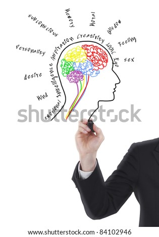 Brain drawing with wording - stock photo