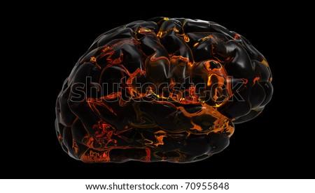 Brain fire design - stock photo