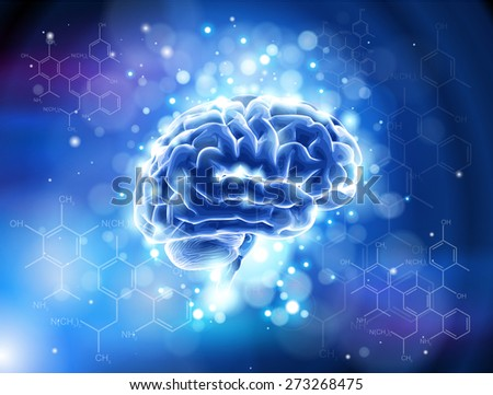 brain & formulas organic chemistry - blue technology concept - stock photo