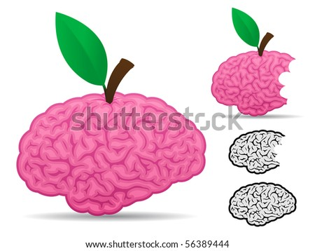 Brain fruit food collection - stock photo