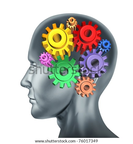 Brain function and intelligence symbol represented by turning gears and cogs. - stock photo