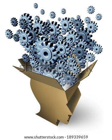 Brain Function and outside the box thinking as a cardboard package shaped as a human head with gears and cogs emerging out as a metaphor for business innovation and creativity inspiration on white. - stock photo