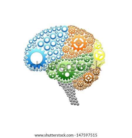 Brain gear with ISOLATE idea design - stock photo