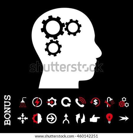 Brain Gears glyph bicolor icon. Image style is a flat pictogram symbol, red and white colors, black background.